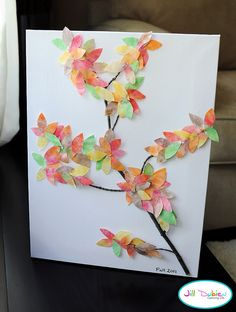 create watercolor on coffee filters, cut into leaves and glue onto a stick on a canvas or paper.  pretty fall art.