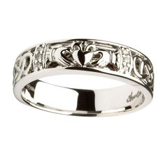 14K White Gold Ladies Diamond Claddagh & Celtic Ring