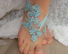 Champagne  black Beach wedding barefoot sandals  by BarefootShop