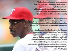 Ron Washington, We love you & will greatly miss you!!