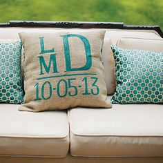 Monogrammed Pillows - Outdoor Fall Wedding in Mississippi - Southern Living