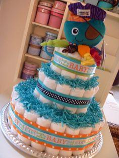 Diaper Cake by BabyCreationsbyJen on Etsy, $50.00
