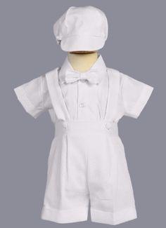 Marcus Woven White PolyCotton Boys Baptism Shorts w. Suspenders Outfit 4-Piece Set  (1)