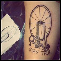 Stay True Bike Wheel Tattoo