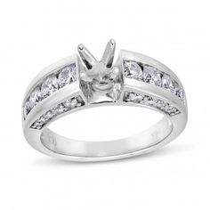 Vow to Wow, 14K White Gold I1 Round Diamond Semi Mounting Ring, 1 1/2 ctw - Vow to Wow - Collections - by Samuels Jewelers