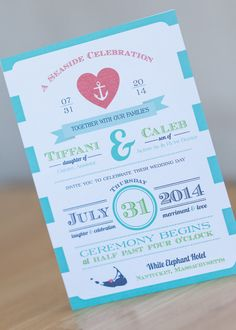 Fun unique nautical Wedding Invitation by Dulcepress on Etsy #etsy #nautical #wedding #invite #invitations