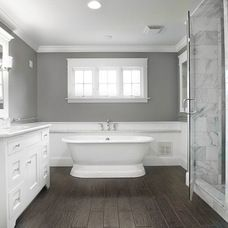 This is what I want, white on white, marble, and faux wood tile floor