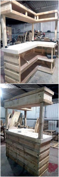 Now here is an idea for a huge wood pallet bar, it can be copied for the business purpose like if any person has a bar and he/she wants something to serve the guests. There is enough space to place the wine bottles in a perfect way. ANOTHER IDEA 4 ALLEN Palet Bar, Wood Pallet Bar, Wooden Pallets, Pallet Ideas, Pallet Projects, Home Projects, Pallet Walls, Pallet Work Bench, Design Projects