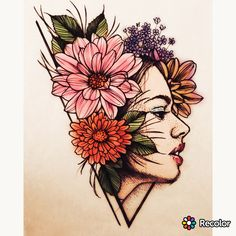 Flowers Girl Sketch Ideas For 2019 Girl Drawing Sketches, Cool Art Drawings, Pencil Art Drawings, Girl Sketch, Art Inspiration Drawing, Pen Art, Art Sketchbook, Watercolor Art, Pointillism