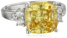 Platinum Plated Sterling Silver Yellow Cushion-Cut Cubic Zirconia Ring, Size 6