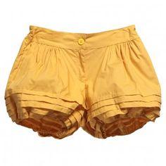 Mimi-Sol  Girls Yellow Cotton Ruffle Shorts