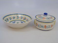 2 Serving Items of Henriot Quimper c 1930, featuring a fine Covered Butter Dish marked Henriot Quimper France, and a Large Serving Bowl measuring 9.5 inches in diameter and marked HR Quimper France