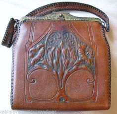 3610b0f1e9 Details about Antique Art Nouveau Hand Tooled Floral LG Leather Lined Purse  JEMCO MEEKER 1915