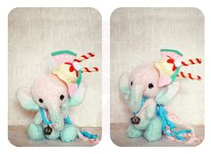 ♥ ITEM:  1 Handmade OOAK Artisan Elephant Evie  ♥ DESCRIPTION:  Height:  6.5 Inches (Standing)  Evie is my fun loving hand dyed mohair elephant. She was inspired by the summer fun and watermelons. Her magnetic headpieces features a merino wool dessert with watermelon, ice cream, and cookies...