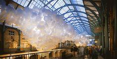 Il y a exactement 100000 ballons dans l'installation de Charlers Pétillon à Covent garden, gare de Londres.