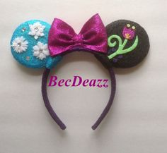 Disney's Frozen inspired Minnie Mouse ears headband. When you just can't decide if you're Team Anna or Team Elsa, These ears were a  custom request out of my Etsy shop, EarzbyBecDeazz.