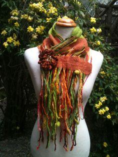 Bufanda de fieltro y lana + prendedor de lana! Buscame en facebook: Fieltros Cristi Almazan
