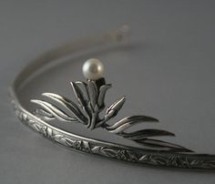 Lily Nouveau Tiara--Solid Sterling Silver set with a Genuine Fresh Water Pearl