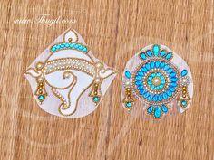A beautiful set of detachable transparent sheet with the Kolam design on it. Decorative rangoli for any occasion. Rangoli Kolam Designs, Kolam Rangoli, Lord Vishnu, Stickers, Decoration, Chakra, Books, Accessories, Beautiful
