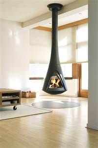 Ceiling mounted fireplace