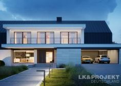 Two storey house in modern style with usable area House with a large garage and cellar. Modern Family House, Modern Barn House, Contemporary House Plans, Victorian House Plans, Barn House Plans, Dream House Plans, Single Storey House Plans, Two Storey House, Architect House
