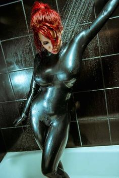 bianca beauchamp shower in latex Latex Babe, Sexy Latex, Stunning Redhead, Beautiful, Bra Cup Sizes, Latex Dress, Latex Catsuit, Skin Tight, Beauty And The Beast