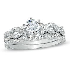tw diamond braided bridal set in 14k white gold - Zales Wedding Rings Sets