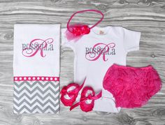 Monogrammed baby girl gift set burp cloth onepiece lace bloomers rosette shoes rose headband hot pink and gray baby shower present 1st photo on Etsy, $55.00