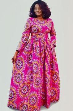 AKU African Print Long Sleeve Maxi Dress Women Fashion