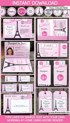 Paris Party Invitations & Decorations full by SIMONEmadeit Invitation Fete, Paris Invitations, Passport Invitations, Shower Invitations, Paris Themed Birthday Party, Birthday Party Invitations, Birthday Party Themes, Birthday Ideas, Birthday Games