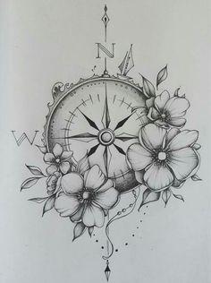 Compass & watches - Kompass & Uhr - Tattoo Designs For Women Trendy Tattoos, Sexy Tattoos, Body Art Tattoos, Small Tattoos, Girl Tattoos, Cross Tattoos, Tattoos On Ribs, Tattos, Side Stomach Tattoos