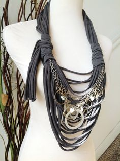 Scarf Necklace  Charcoal with Chunky Silver Chain by MySassyScarfs