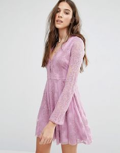 Image 1 ofHoney Punch Lace Skater Dress
