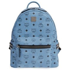 Women's Mcm 'Small Stark' Side Stud Backpack ($720) ❤ liked on Polyvore featuring bags, backpacks, denim, backpack bags, blue bag, studded bag, blue backpack and mcm