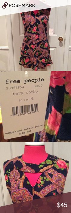 "NEW ""FREE PEOPLE"" SHIFT NEW, adorable shift from ""FREE PEOPLE"".  Is the ""NAVY COMBO"" and features opening at upper chest and back zip with hook & eye closure.  PRETTIEST print of roses, leaves, and paislies! Free People Dresses Midi"