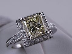 2.87 ctw Princess Cut Diamond Engagement Ring Natural Yellow SI1. For sale for $8,990 on our website www.bigdiamondsusa.com or call us at 1-877-795-1101 for more information.