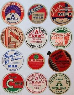 Vintage milk bottle caps LOT OF 24 DIFFERENT originals #9 unused new old stock