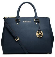 $368, Navy Leather Tote Bag: MICHAEL Michael Kors Michl Michl Kors Sutton Saffiano Leather Large Satchel. Sold by Michael Kors. Click for more info: http://lookastic.com/women/shop_items/120506/redirect