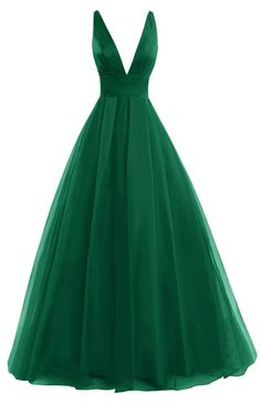Green V Neck Long Prom Dresses A Line Sleeveless Sexy Back Floor Length Party Dresses