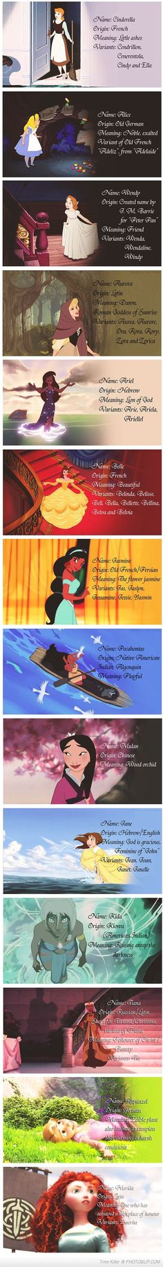 The Meanings Behind The Names Of The Disney Ladies. I like that this is in chronological order.