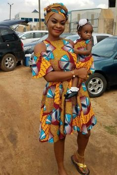 Beverly Afaglo and daughter in African print dress
