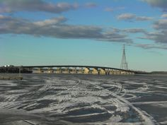 Spring ice thaw at the Causeway in Fort Frances Ontario on Rainy Lake. May 6, 2013