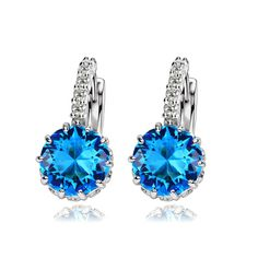 [$28.00] Danube Blue Rhinestone Gold-plated Earrings for Teenage Girl - Free Shipping