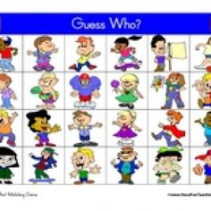 Guess Who Game: Printable Guess Who matching game. Includes 2 game boards, 24 playing cards, 40 game pieces, and directions. Information: Guess Who Board Game. Guess Who Game Board. Guess Who Games. Guess Who Board Game. Who's Who Game. (Cut and Laminate for Longer Use)