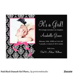 Pink Black Damask Girl Photo Birth Announcement