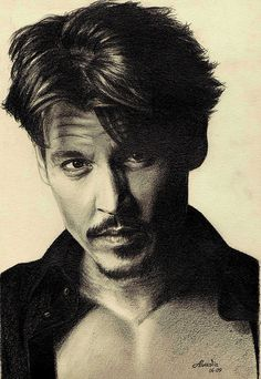 Depp by renata_alvadia, Young Johnny Depp, Here's Johnny, Graphite Art, Jonny Deep, Celebrity Drawings, People Of Interest, Amazing Drawings, Captain Jack, Famous Faces