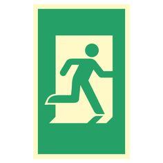 Nødutgang- og rømningsskilt med symbol for nødutgang De Flat Earth, No Way, Signage, Letters, Logos, Fictional Characters, Safety, Security Guard, Logo