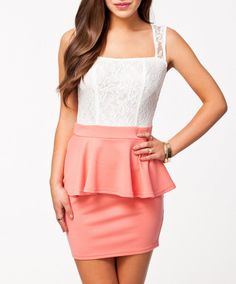 $26.99   Coral Lace Party Princess Sexy Peplum Dress