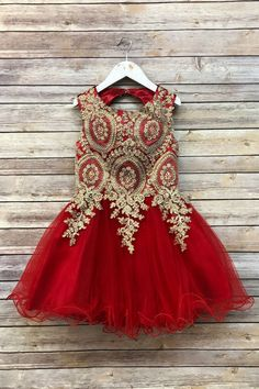Precious Kids Red Embroidered Corset-Back Sleeveless Dress - Girls Red And Gold Dress, Gold Flower Girl Dresses, Tulle Flower Girl, Tulle Flowers, Little Girl Dresses, Flower Girls, Red Dresses For Kids, Tween Party Dresses, Girls Dresses