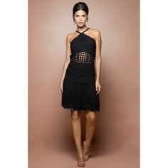US$ 2,990.00 - Black Gold Coast Crochet Dress - Vanessa Montoro U - vanessamontorolojausa